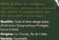 Huile d'olive vierge extra de Crète IGP - Ingrédients - fr