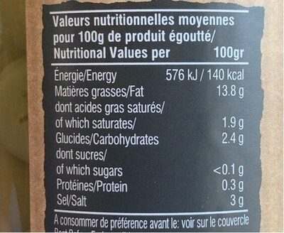 Olives vertes bio denoyautees - Informations nutritionnelles
