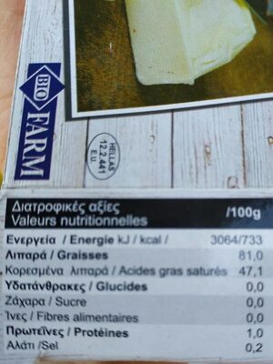 Beurre de brebis - Informations nutritionnelles - fr