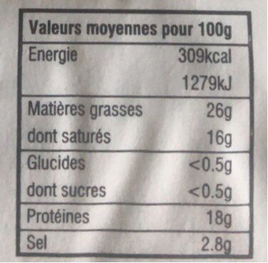 Feta. A.O.P - Informations nutritionnelles - fr