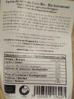 Farine de noix de coco bio - Informations nutritionnelles - fr