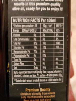 Extra virgen olive oil - Información nutricional - es