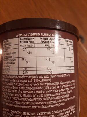 ρόφημα σοκολάτας - Nutrition facts - el