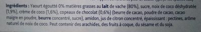 Yaourt Grec coco chocolat - Ingredients