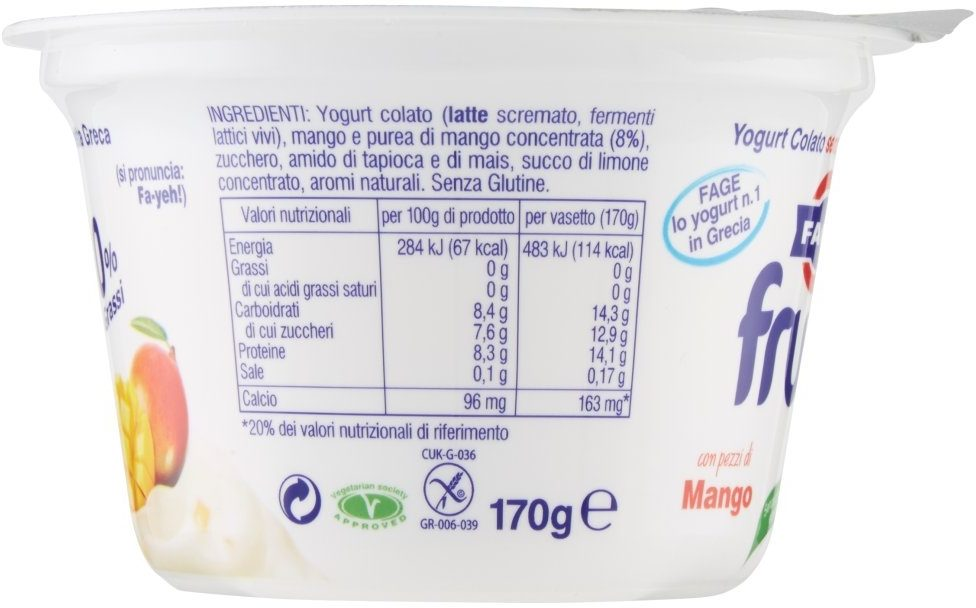 Yogurt colato magro con pezzi di mango - Nutrition facts