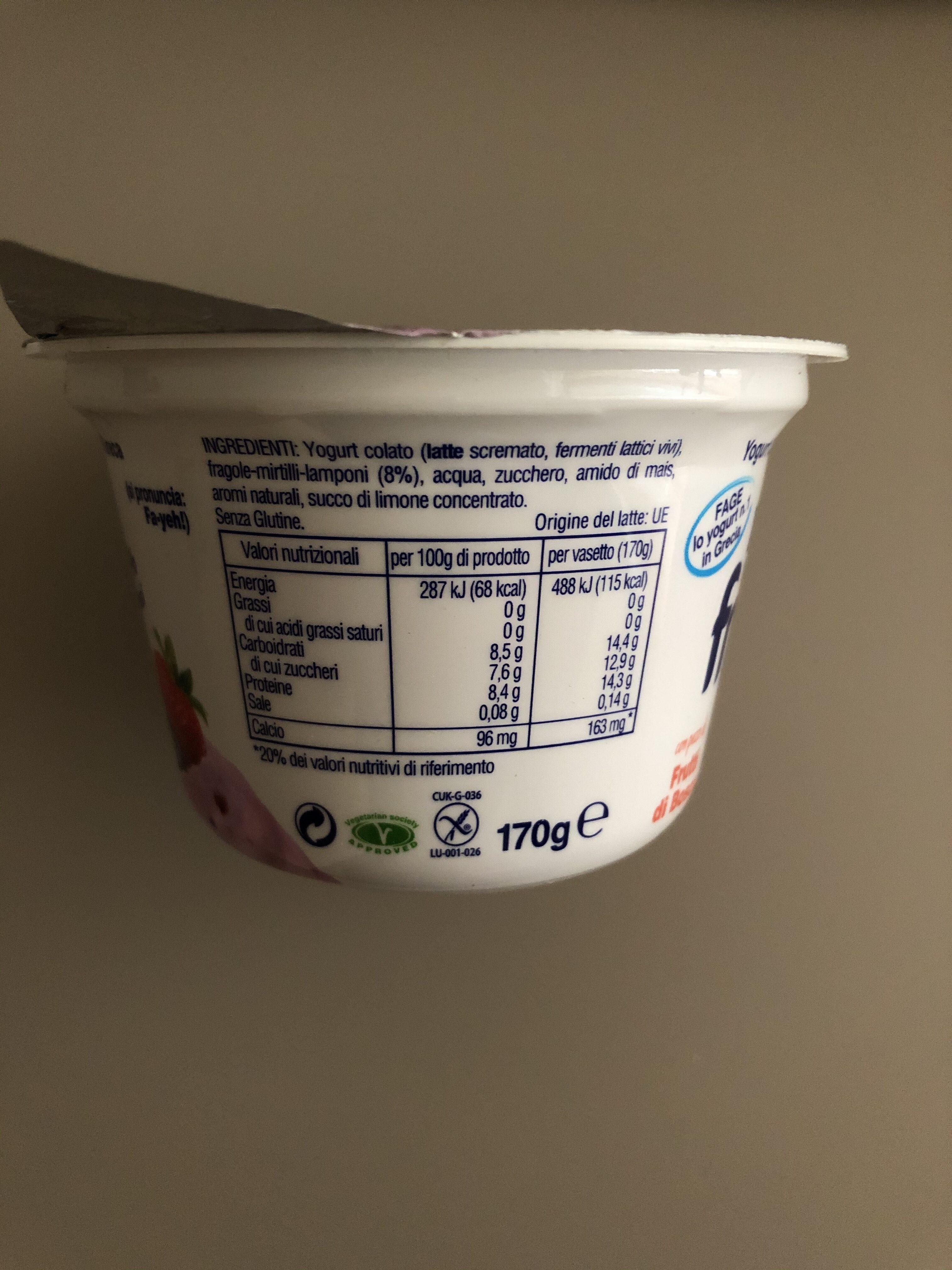 Fage Fruyo Yogurt Intero Frutti Di Bosco GR - Ingredienti - it