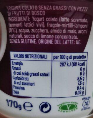 Fage Fruyo Yogurt Intero Frutti Di Bosco GR - Valori nutrizionali - it