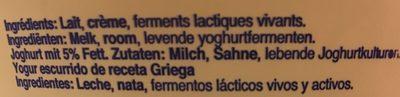 Yaourt Grec FAGE Total 5% - Ingrédients - fr