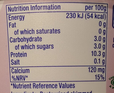 Yaourt grec 0% - Nutrition facts