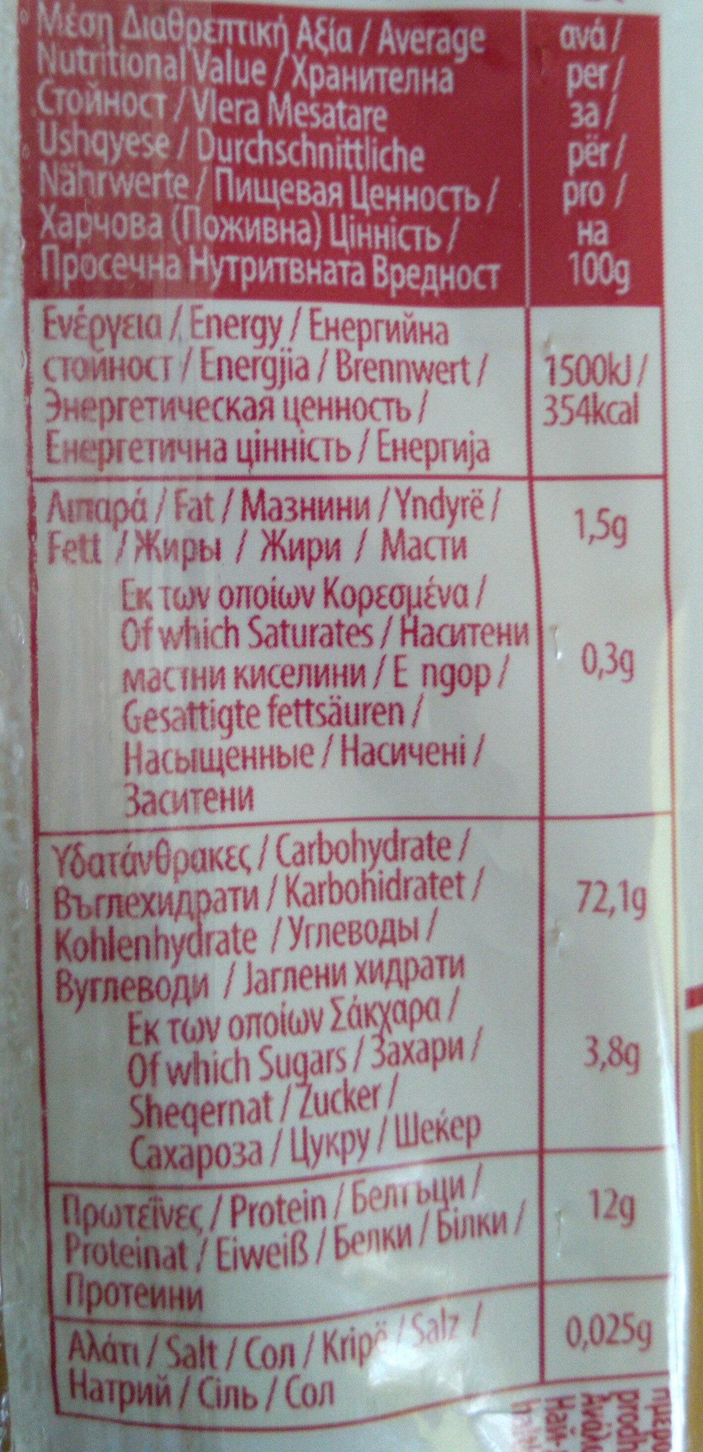 Σπαγγέτι Νο10 - Nutrition facts - el