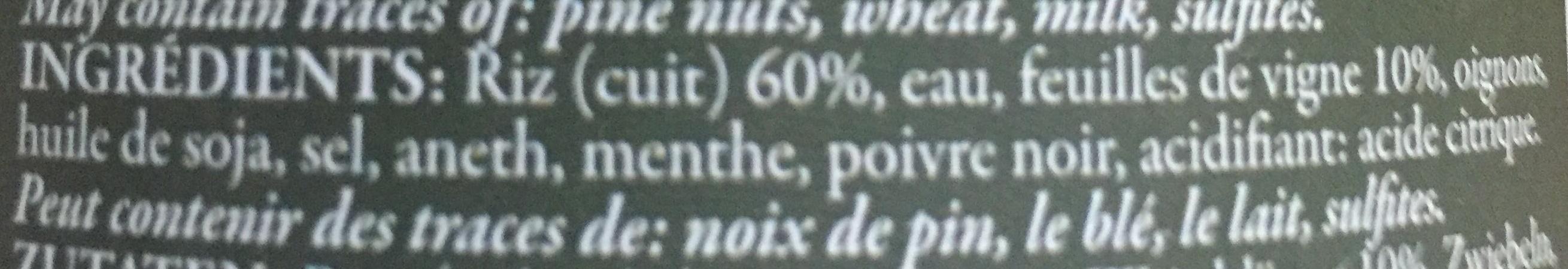 Feuilles de Vigne farcies au riz - Ingredients - fr