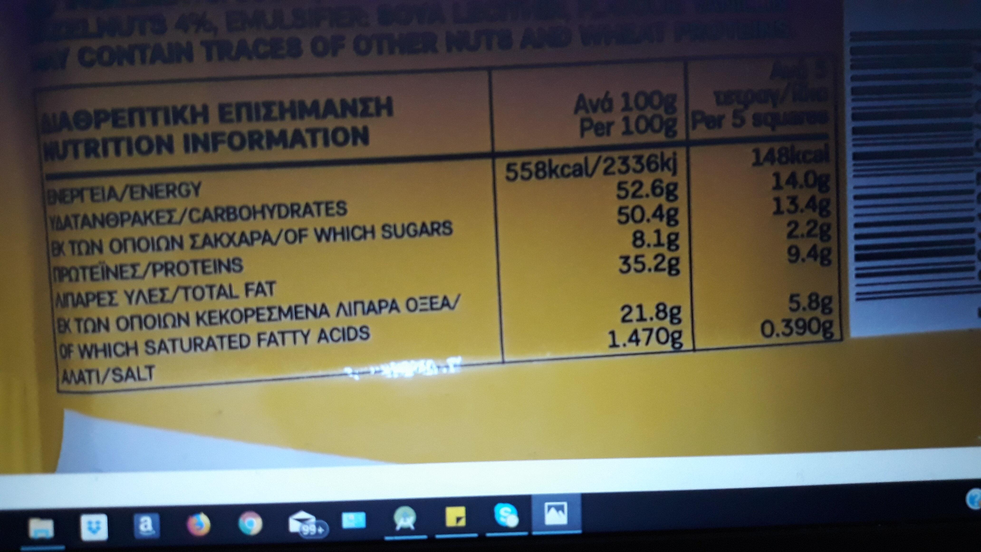 break white - Informations nutritionnelles - el