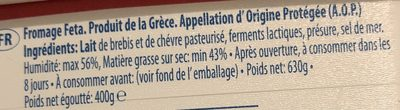 Fromage Feta - Συστατικά