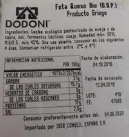 Dodoni Organic Feta Cheese 200G - Voedingswaarden - es