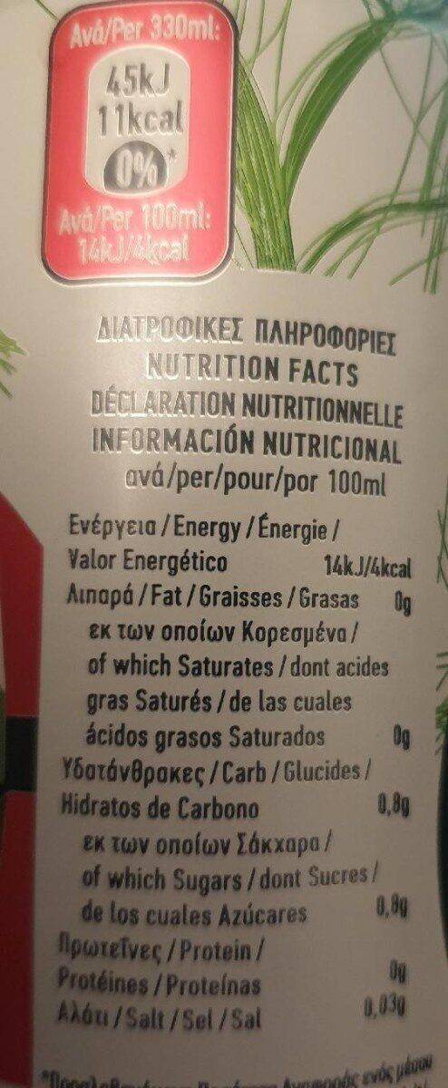 Epsa Green Tea Lemon With Pomegranate & Sour Cherry Light 330ML - Informations nutritionnelles - fr