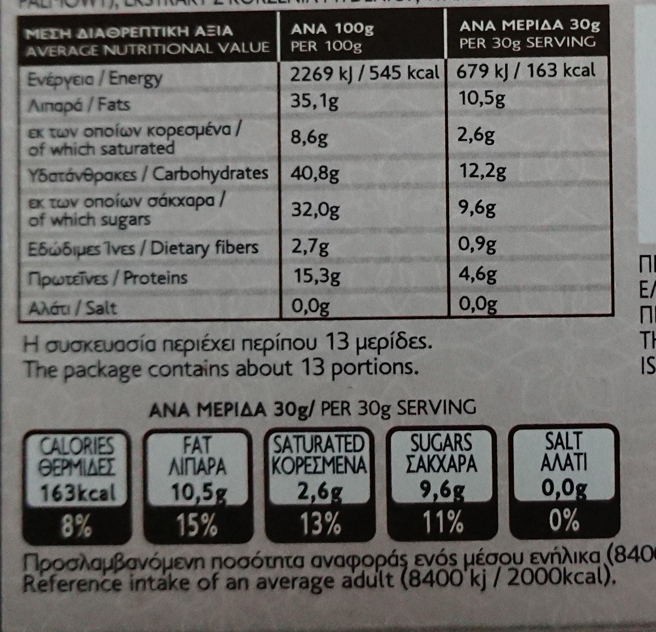 Χαλβάς Κακάο - Nutrition facts - el