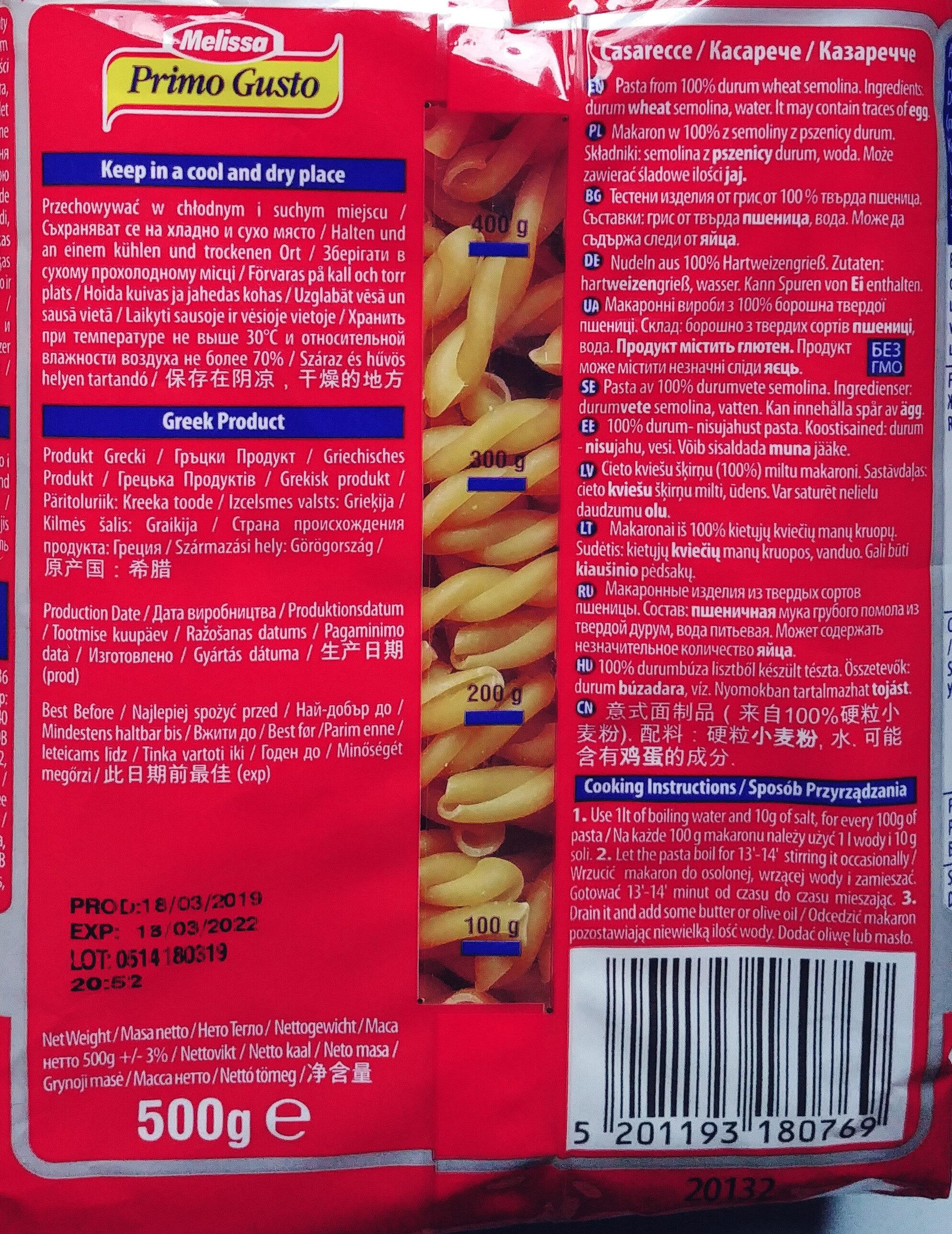 Makaron z semoliny z pszenicy durum - Ingredients