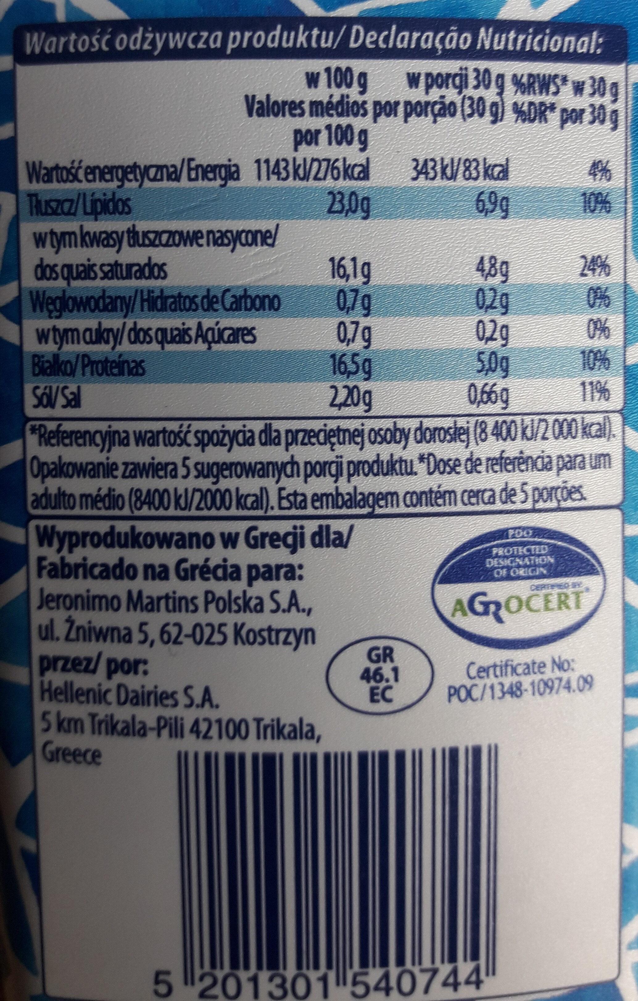 Ser Feta w kostakch - Nutrition facts - pl