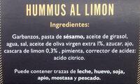 Hummus al Limón Auténtico Griego - Ingredientes