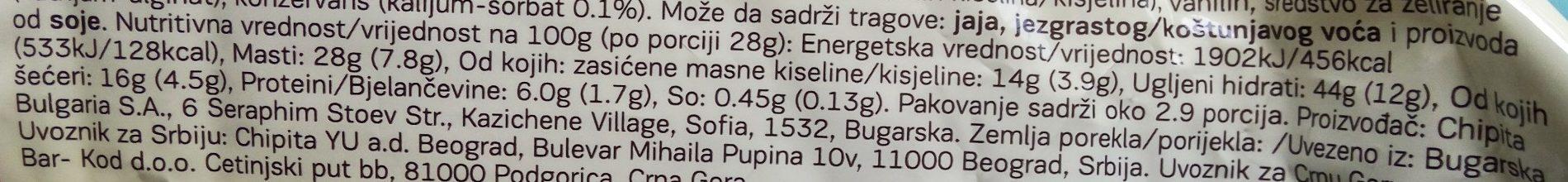 7 Days Max Croissant Cocoa Filling - Hranljiva vrednost - sr