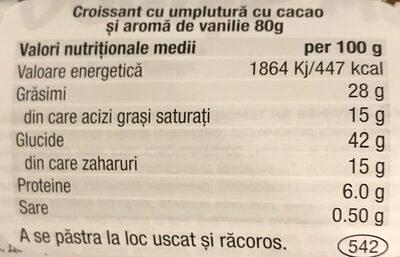 Double Max Cocoa & Vanilla Croissant - Informations nutritionnelles - ro