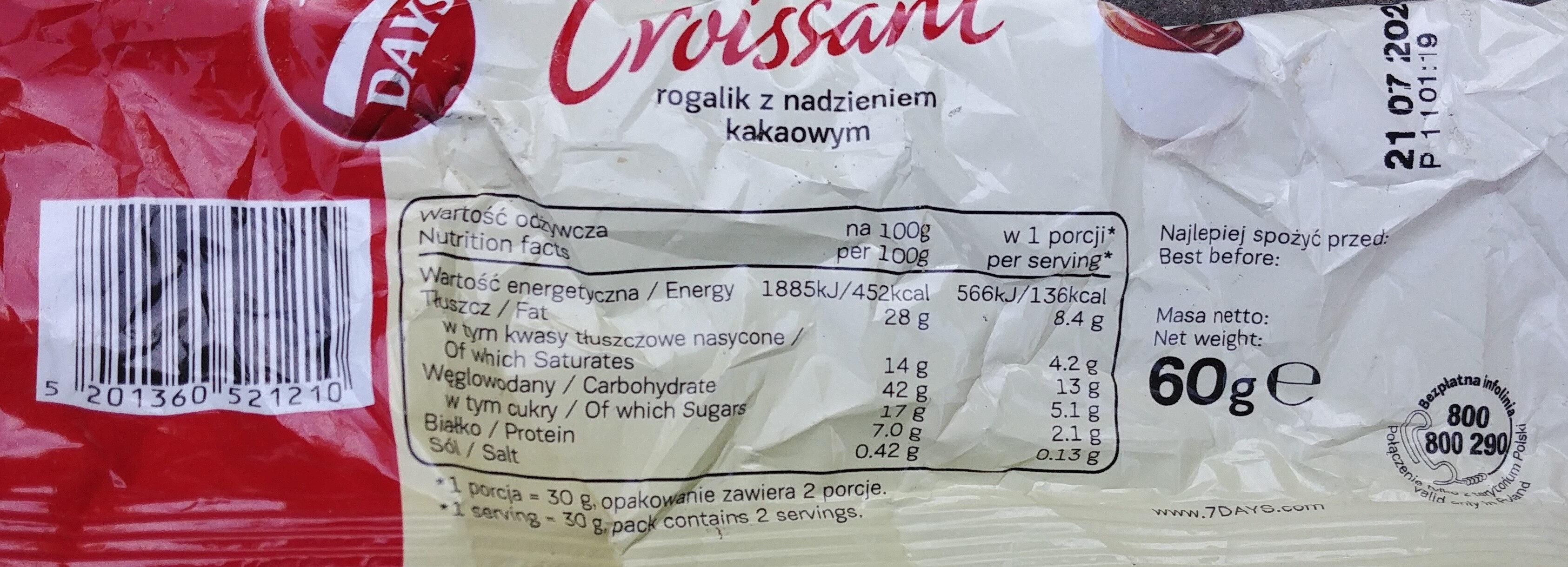Croissant cu umplutură cu cacao - Wartości odżywcze - pl