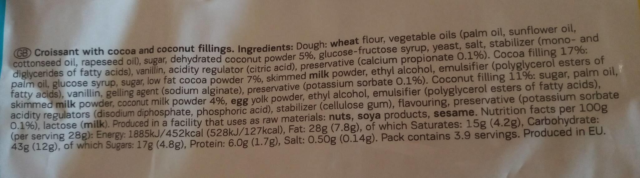 Double coconut - Хранителна информация - en