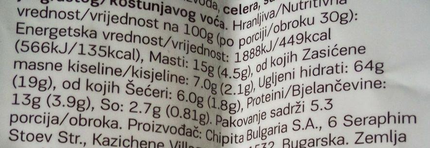 Bake rolls kisela pavlaka & crni luk - Nährwertangaben - sr