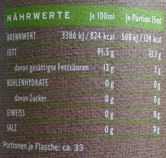 Natives Olivenöl extra - Informations nutritionnelles - de
