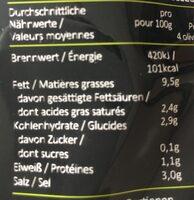 Greek olives vertes marinées citron et origan - Voedingswaarden - fr