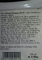 Kolios Bio-organic Feta 150G - Ingrédients