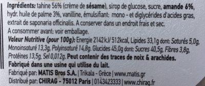 Matis Almond Halva - Ingredients