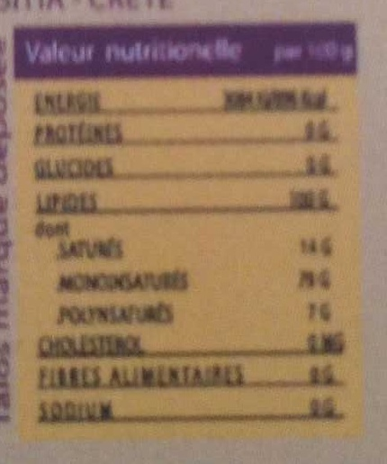 Le jus d'olive - Nutrition facts