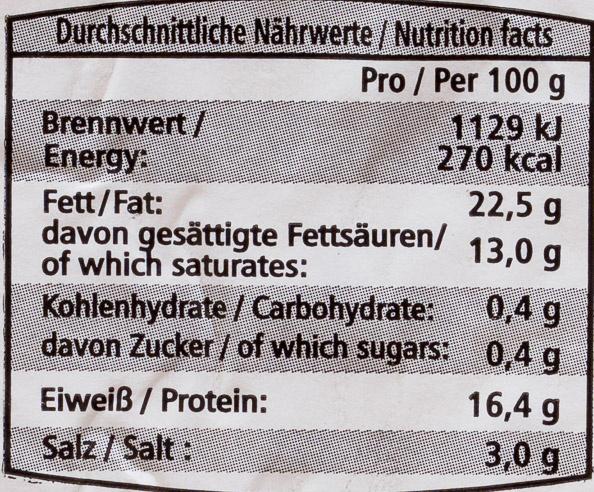 Feta - Voedingswaarden - de