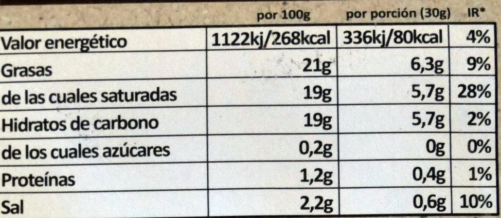 Violife Saveur Original Bio - Información nutricional