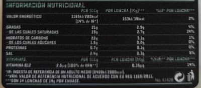 Lonchas veganas sabor pavo sin gluten, sin lactosa, sin soja - Informations nutritionnelles
