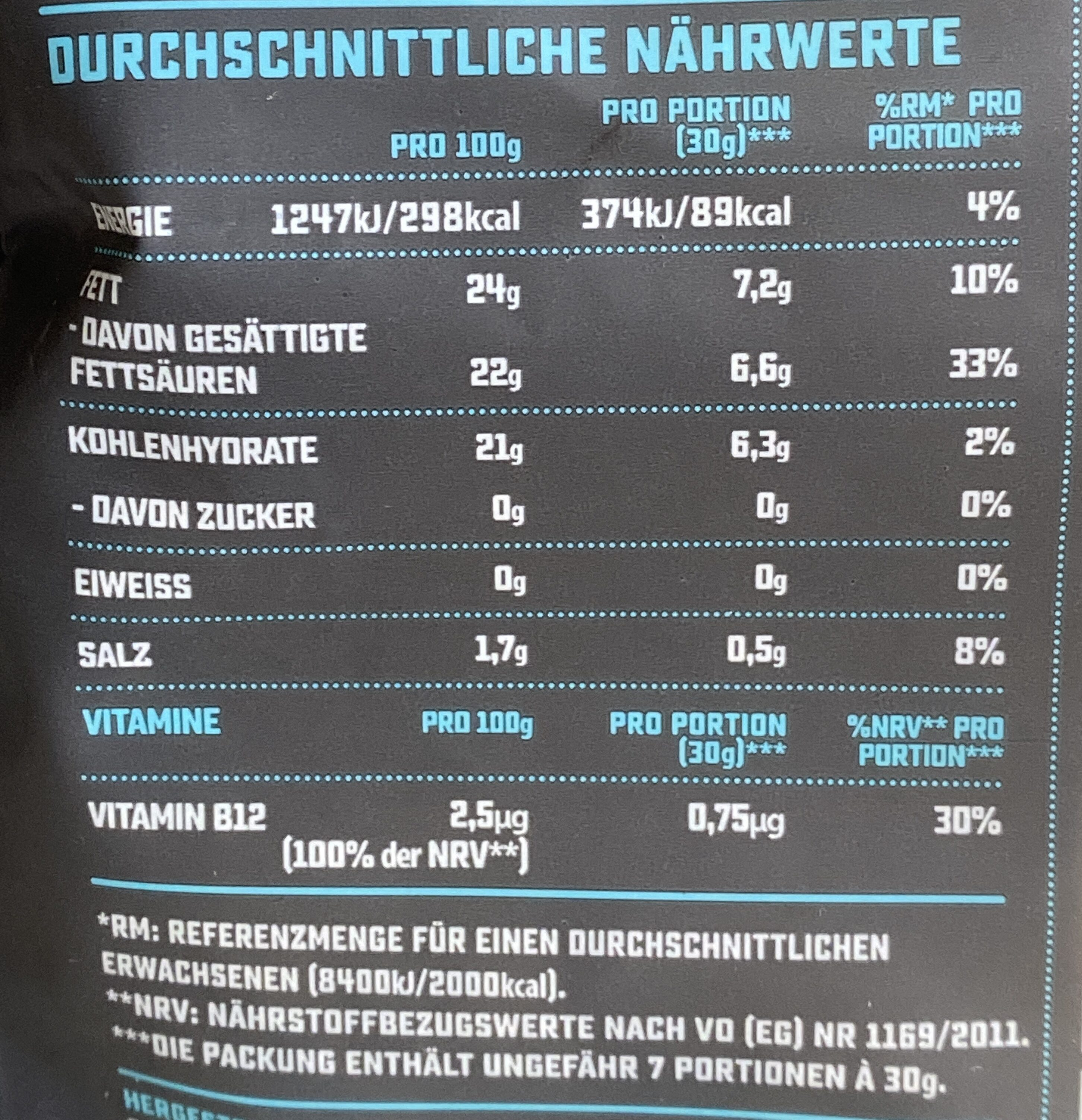 Mozzarella flavour grated - Nährwertangaben - de