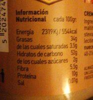 Almond cream - Información nutricional