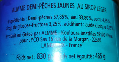 Demi peches jaunes au sirop leger - Ingrédients - fr
