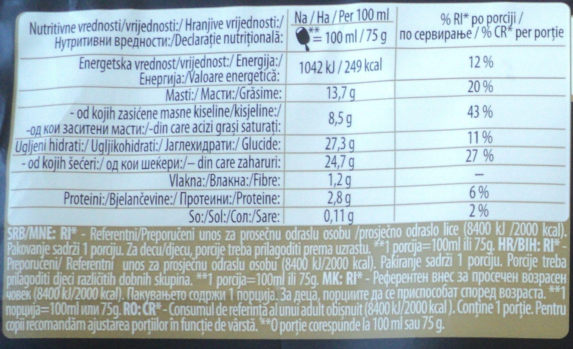 Înghețată cu aromă de ciocolată - Nutrition facts - ro