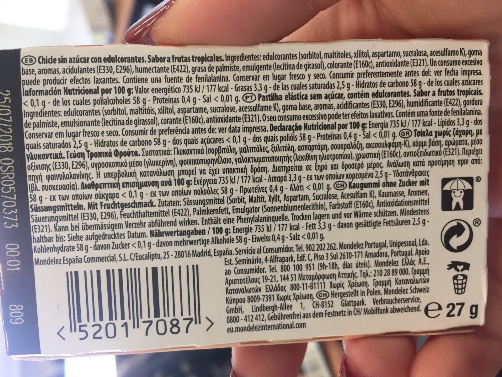 Senses tropical mix - Chewing-gum - Ingredienti - fr