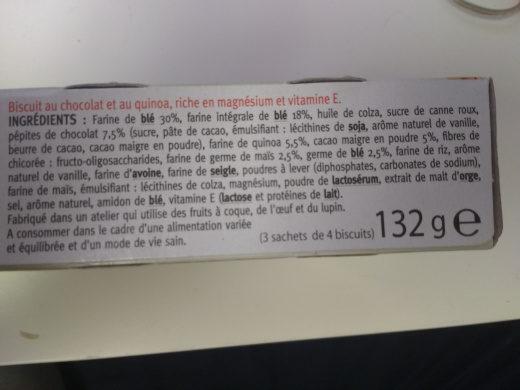 Biscuit Quinoa Cacao - Ingrédients
