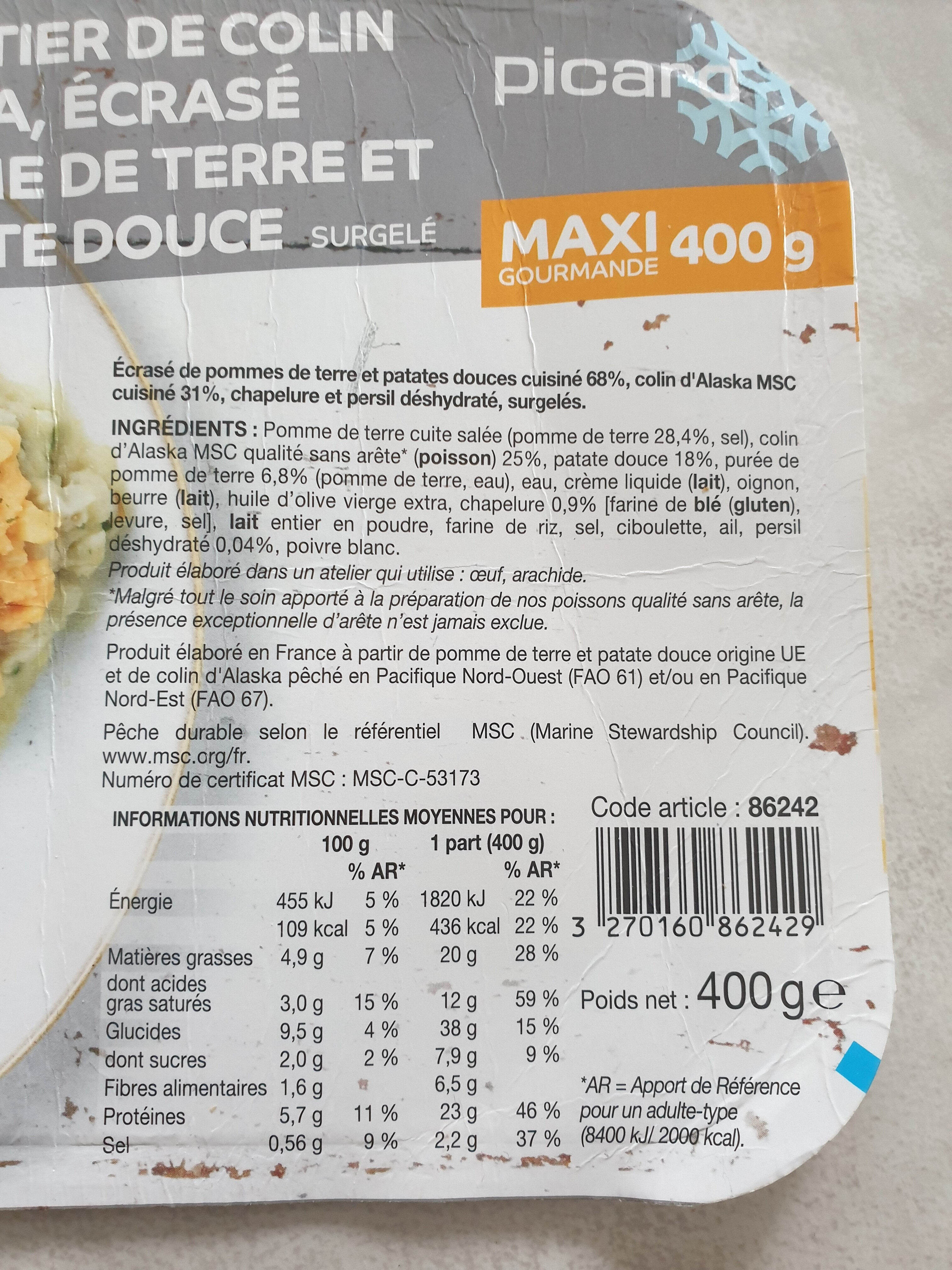 parmentier de colin, écrasé de pomme de terre et de patate douce - Ingredienti - fr