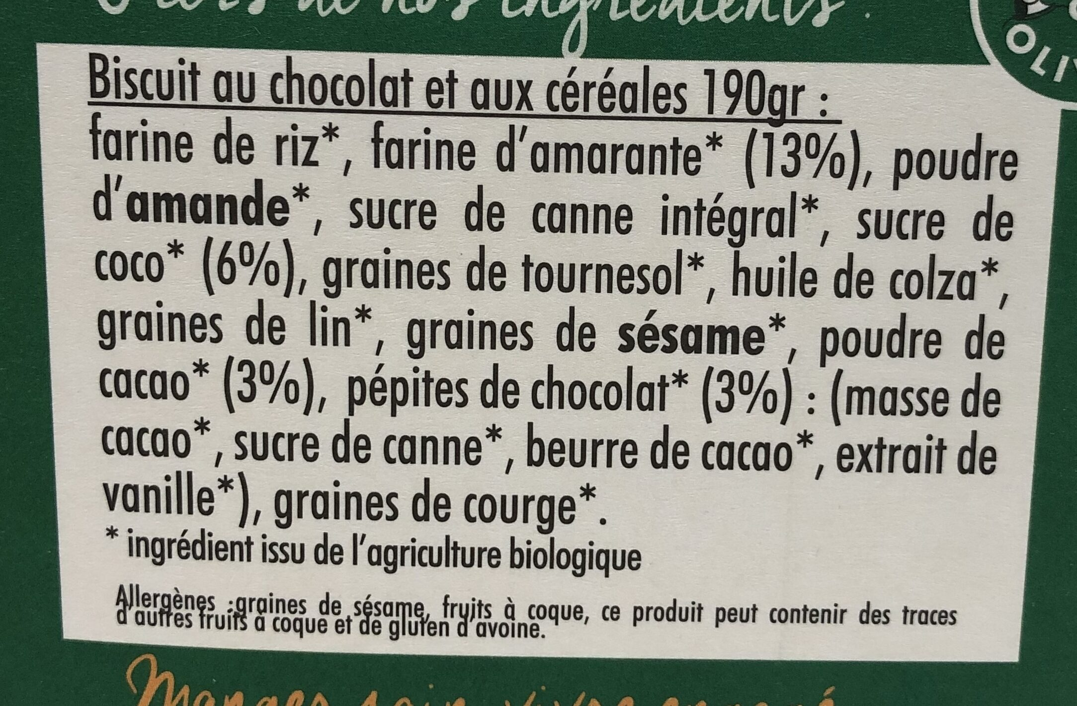 Mon Petit Dej Nutrition Bio Chocolat - Ingredients - fr