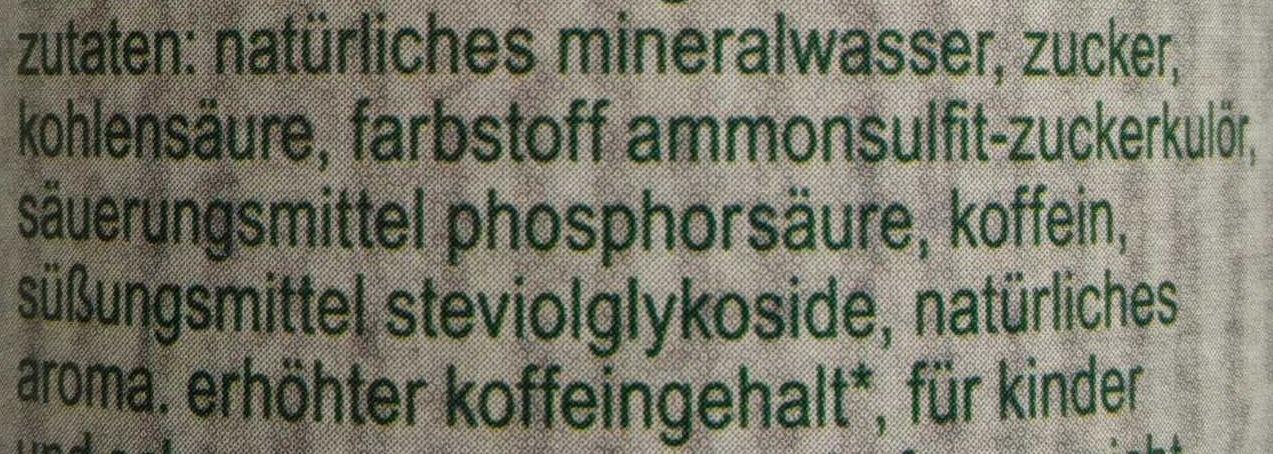 fritz-kola stevia - Inhaltsstoffe - de