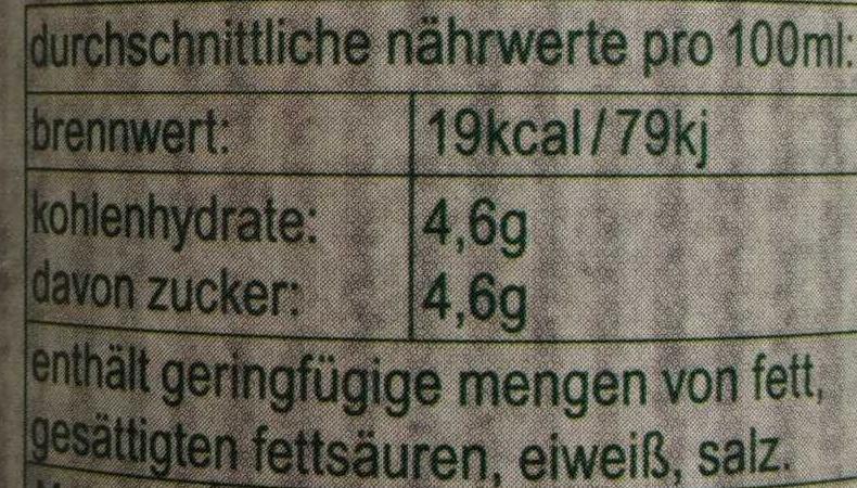 fritz-kola stevia - Nährwertangaben - de