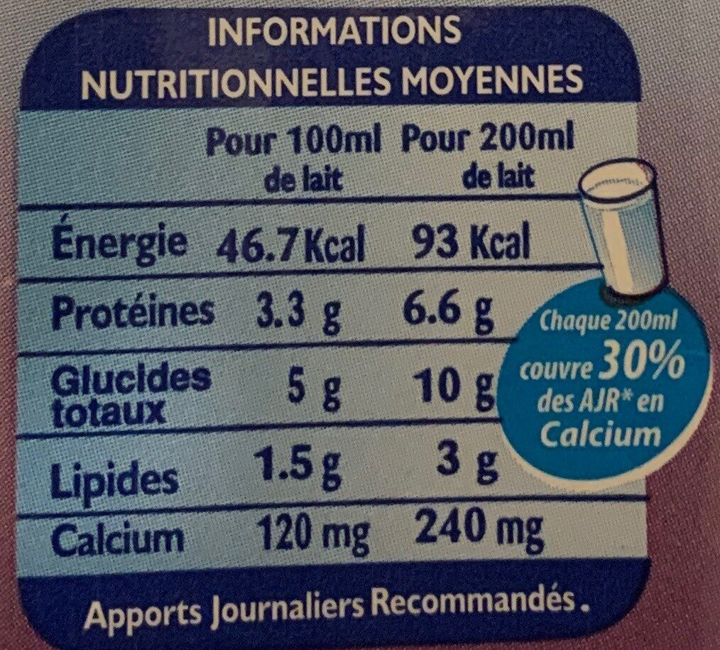 CANDIA Grandlait, Lactose free demi-écrémé - حقائق غذائية - fr