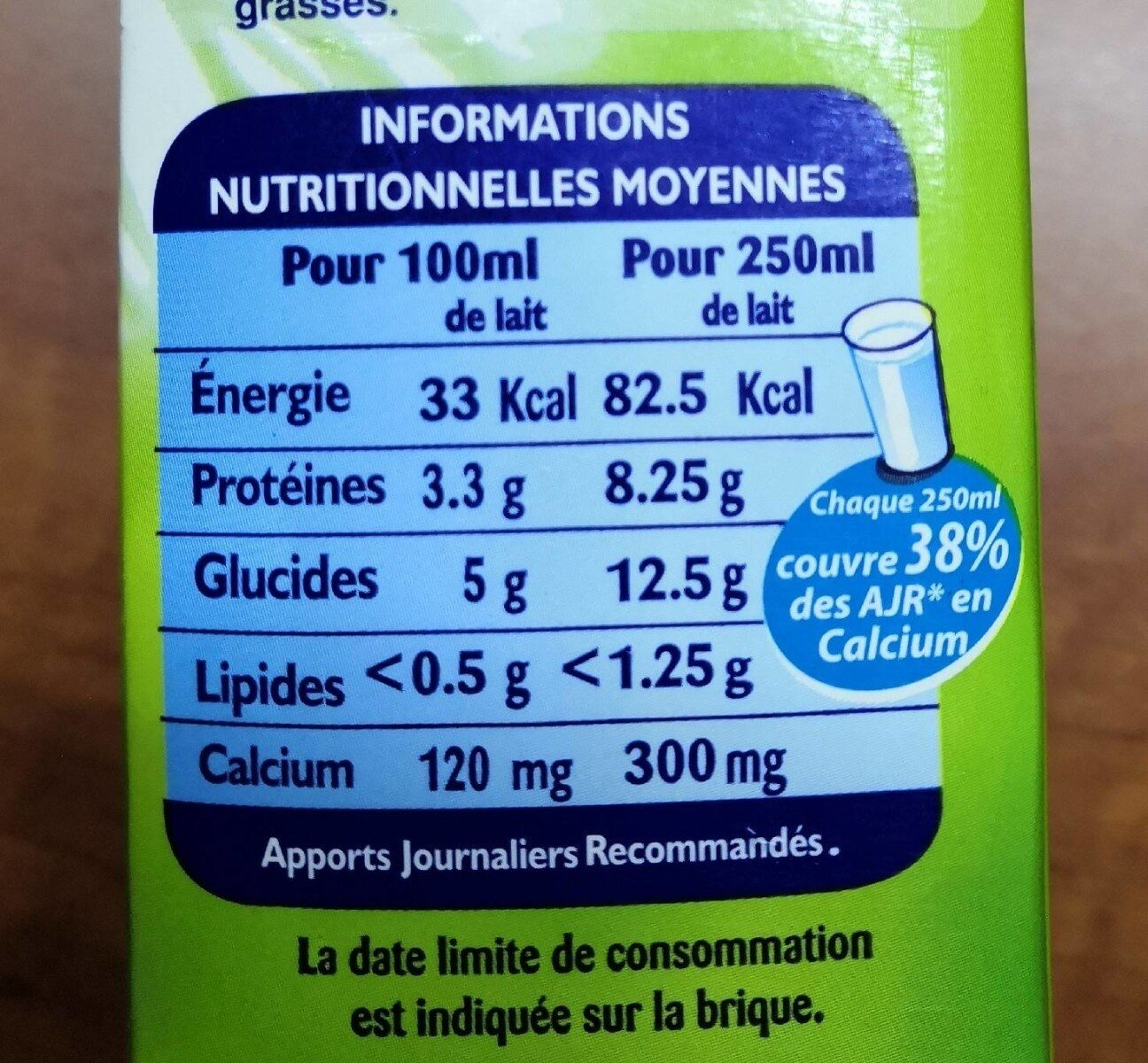Candia milk Fat free - حقائق غذائية - fr