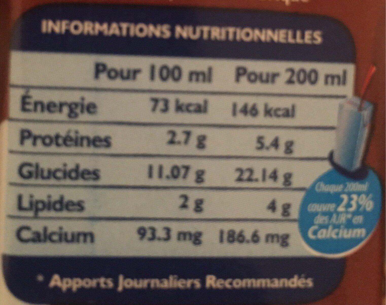 Cany'up chocolat - حقائق غذائية - fr