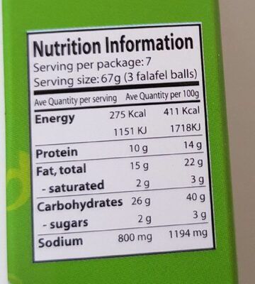 Chtoura Falafel Puder - Nutrition facts - de